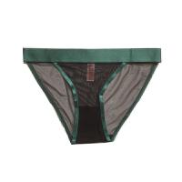 蕾丝女式三角内裤 低腰网纱内裤速干透明提臀性感镂空舒适 绿色 网纱