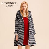 迪赛尼斯韩版直筒格子中长款羊毛呢子大衣外套女