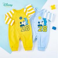 迪士尼Disney童装 男宝宝连体衣运动米奇侧开连体哈衣春季新品婴儿纯棉衣服201L857