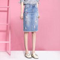 牛仔半身裙女夏季2018新款韩版高腰显瘦破洞中长款包臀一步裙夏