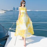 2018海边度假泰国显瘦仙沙滩裙巴厘岛波西米亚长裙连衣裙 黄色