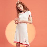 【2件2.5折到手价:37.5】美特斯邦威夏季新款小花边连衣裙女甜美裙子chic短裙百搭潮8