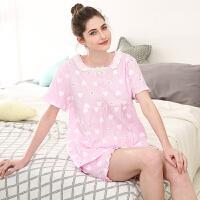 红豆居家睡衣女春夏纯棉短袖卡通印花蕾丝公主利发国际lifa88服套装374