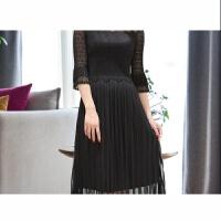 2018夏季韩版名媛气质显瘦中长款蕾丝连衣裙女褶皱百褶裙子 均码