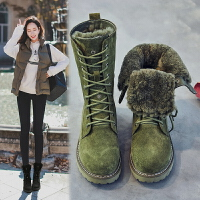 冬季皮毛一�w雪地靴女英���R丁靴平底短靴真皮棉靴保暖加�q中筒靴SN6922