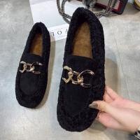 毛毛鞋女豆豆鞋加绒chic懒人乐福鞋链条羊羔毛棉鞋平底休闲女鞋冬