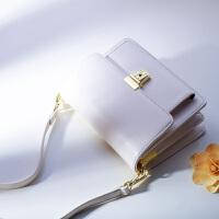 白色小包包女2018新款欧美链条风琴包迷你包多层斜挎方包单肩包潮SN5891 米白色 配皮肩带