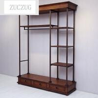 ZUCZUG服装店展示架铁艺上墙服装架落地式挂衣架实木复古置物架女装货架