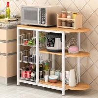 厨房置物架微波炉架收纳置物架落地层架碗柜架电器多功能储物碗架