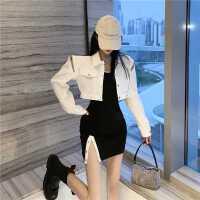白色牛仔外套女秋季新款短款外衣��松百搭�L袖上衣�_叉背心�B衣裙