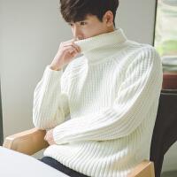 男士毛衣韩版高领套头秋冬季新款棉线衣男加厚保暖宽松针织衫纯色 X