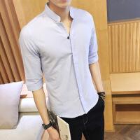 夏季男士衬衫短袖韩版修身潮流帅气休闲亚麻七分袖立领白色衬衣男