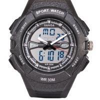 三达表时尚潮流多功能电子手表双显防水男士高档手表