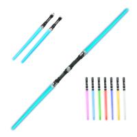 小孩户外礼物男孩儿童玩具刀剑发光塑料玩具刀星球大战伸缩激光剑 2合1电光剑蓝色送 七彩电光剑