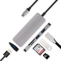 转接头苹果笔记本拓展坞MacBook Pro/Air转换器USB-C分线器转接USB3.0读卡器连键 银灰USB-C转