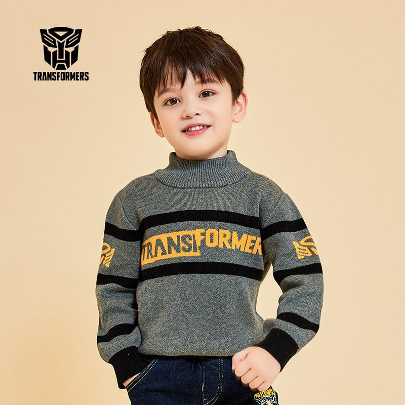 【3件2折再领券】变形金刚童装男童冬装2019秋冬新品套头毛衣针织衫
