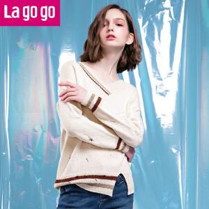 Lagogo2018春季新款V领破洞毛衣长袖上衣学院风宽松纯色针织衫女HAMM491C21