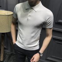 夏季短袖t恤男纯色冰丝针织衫半袖翻领体恤韩版修身polo衫短袖男