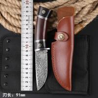 户外荒野求生刀特战狩猎刀具大马士革钢刀手工锻打高硬度