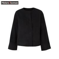 【1件3折到手价:118.5】美特斯邦威呢大衣女秋季新款黑色宽松显瘦羊毛呢短外套学生
