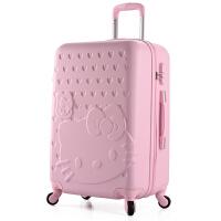可爱行李箱女拉杆箱儿童旅行箱韩版皮箱24寸学生密码箱卡通子母箱SN3059 纯边俏皮粉 单个