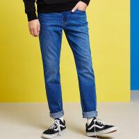 【2件4折到手价:95.6】美特斯邦威牛仔裤男百搭2018春装新款舒适弹力休闲长裤修身窄脚