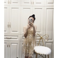 201808291602202832018夏季新款时尚女装气质名媛亮闪闪修身吊带连衣裙露背小礼服潮