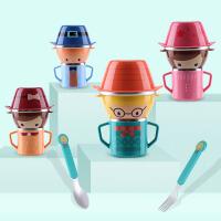 婴儿童餐具套装叉勺水杯宝宝碗防摔卡通不锈钢吸盘辅食碗家用5ia