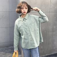 春季新款格子衬衫女宽松显瘦双口袋POLO领衬衫女长袖衬衣外套学生