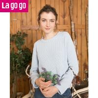 Lagogo2019春季新款直筒长袖圆领打底针织衫女套头蝴蝶结镂空毛衣