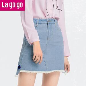 Lagogo/拉谷谷2018年夏季新款时尚字母刺绣牛仔半裙HABB113Y30
