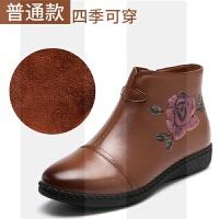 妈妈棉鞋女鞋冬软底加绒保暖真皮鞋中老年人雪地短靴防滑奶奶老人SN9141