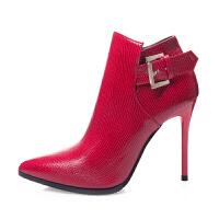 2018秋冬新款短靴女单靴尖头细跟马丁靴高跟及裸靴短筒加绒女靴子