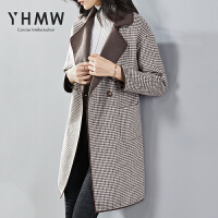 YHMW千鸟格毛呢外套女中长款2018冬新羊毛双面呢子大衣