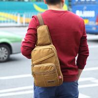 大容量韩版男士帆布胸包男休闲旅行随身包斜挎小背包可放10寸平板