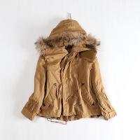重工 秋冬女工装棉衣 大连帽真毛条可脱卸羊羔绒内胆外套