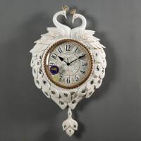 欧式挂钟客厅豪华艺术摇摆钟田园装饰壁钟创意个性时钟钟表静音 16英寸