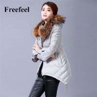 【定金预售】Freefeel女装羽绒服2016冬季新款韩版时尚修身中长款貉子毛领A字棉衣