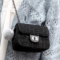 女包秋冬新款韩版潮小方包呢子链条包单肩小包包手提包斜挎包 黑色小号+ 尊贵黑色