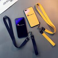 蓝光玻璃款iphone6splus手机壳苹果7日卡通8挂绳XR情侣6个性Xsmax钢化防摔黄绿潮牌个