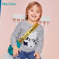 【1件5折】马卡乐男童针织衫小熊套头毛衣纯棉毛衫