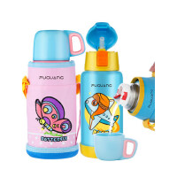 富光儿童带吸管保温杯 男女杯子便携防漏不锈钢暖水壶宝宝学生