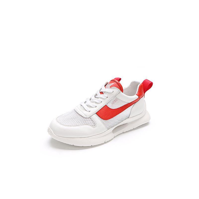 Belle/百丽2018春新品专柜同款牛皮/纺织品女休闲鞋S5P1DAM8