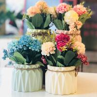 田园花朵清新创意陶瓷花盆仿真绿植盆景餐厅桌面装饰摆件植物盆栽 魅蓝色 玫瑰花+圆肚