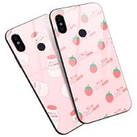小米红米note5 5 plus S2手机壳硅胶套玻璃粉色简约草莓可爱少女