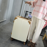 箱子行李箱女皮箱拉杆箱旅行箱韩版万向轮小清新大学生可爱子母箱 米白色 单箱