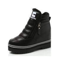 冬季皮面雪地靴女加绒防水内增高厚底短靴子加厚保暖棉鞋松糕女鞋