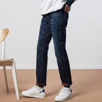 【1件4折到手价:99.6】美特斯邦威牛仔裤男冬季新款韩版潮流反面迷彩印花磨毛直筒裤