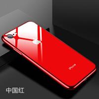 苹果7plus手机壳iPhone6S变8中国红X玻璃红色简约8P全包6p挂绳潮 苹果7/8 中国红