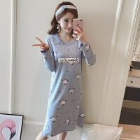 长袖睡裙女春秋可外穿韩版清新学生长款宽松孕妇女士睡衣夏季